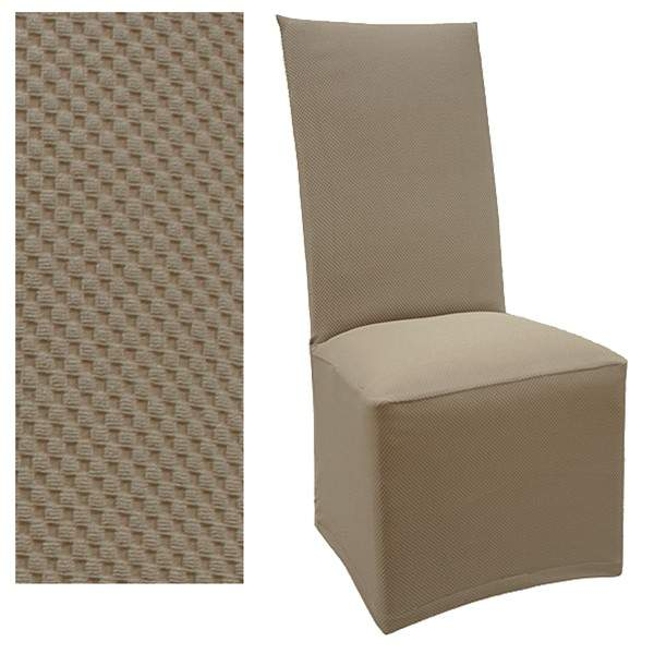 Stretch Pique Medium Taupe Dining Chair Cover