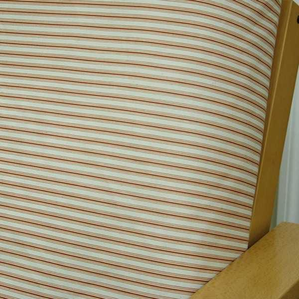 Cottage Stripe Cinnamon Custom Ottoman Cover 303