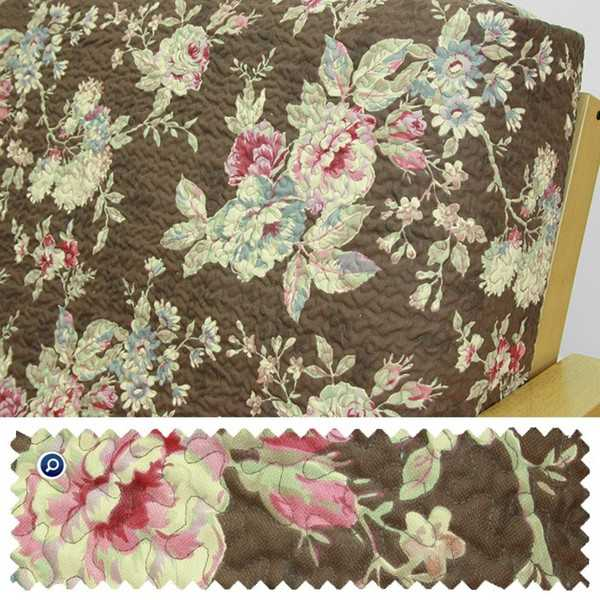 Quilted Floral Chocolate Custom Ottoman Cover 267