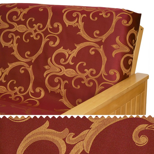 Damask Ruby Scroll Arm Cover Protectors 213