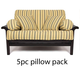 Futon cover with pillows and bolsters
