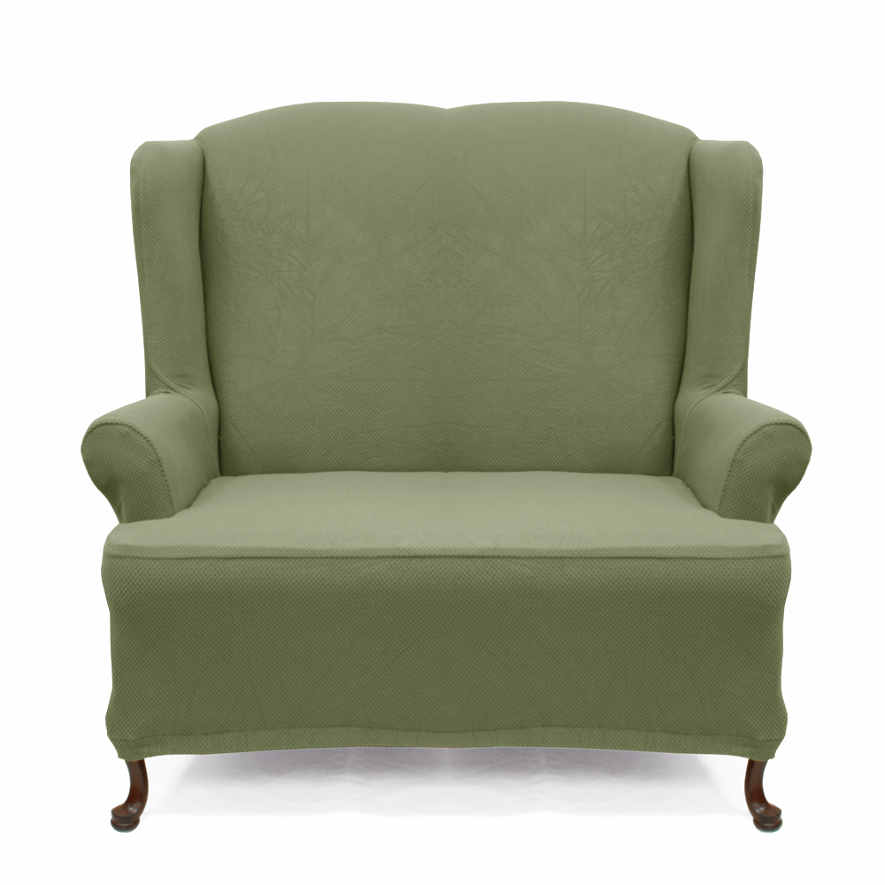 Stretch Green Wingback Chair Cover
